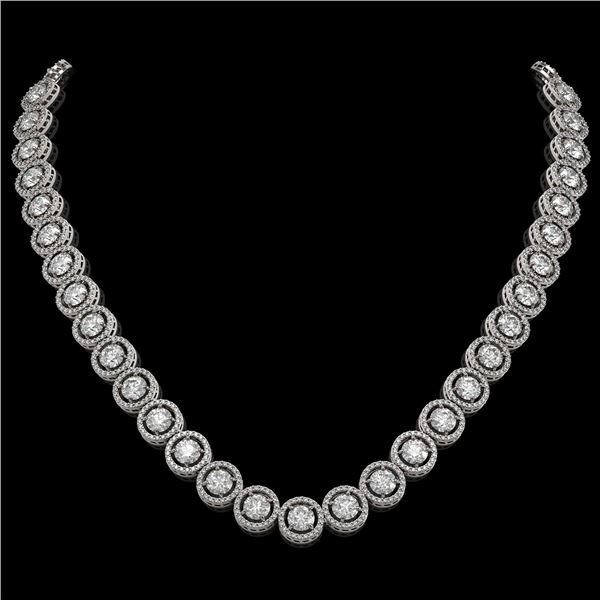 30.78 ctw Diamond Micro Pave Necklace 18K White Gold - REF-3575A2N