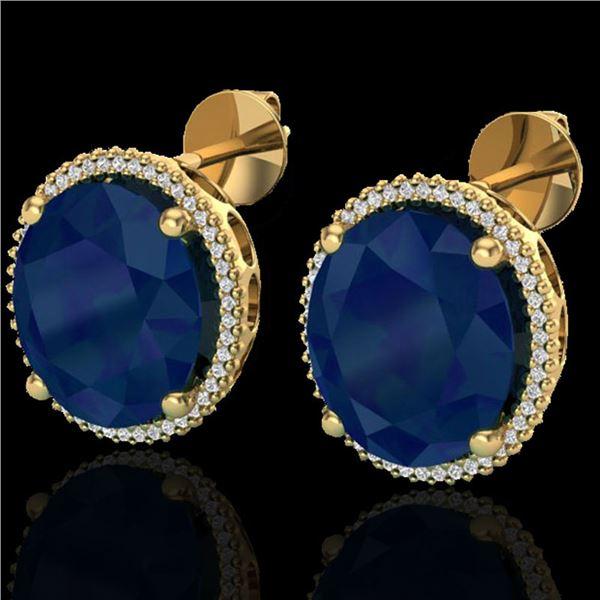 25 ctw Sapphire & Micro Pave VS/SI Diamond Earrings 18k Yellow Gold - REF-200M2G