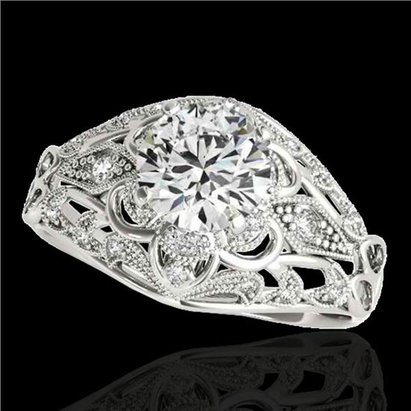 1.36 ctw Certified Diamond Solitaire Antique Ring 10k White Gold - REF-197A8N