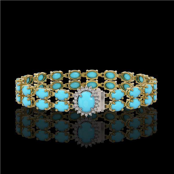 13.14 ctw Turquoise & Diamond Bracelet 14K Yellow Gold - REF-209K3Y