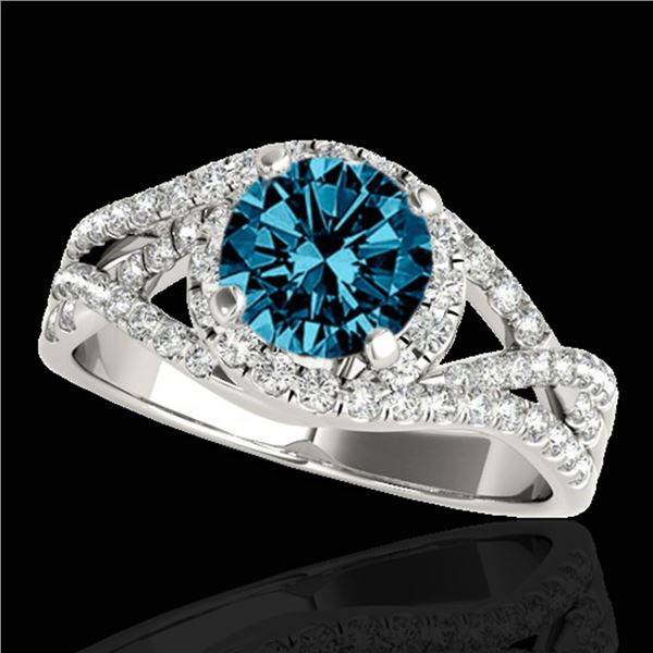 1.5 ctw SI Certified Fancy Blue Diamond Solitaire Halo Ring 10k White Gold - REF-133G6W
