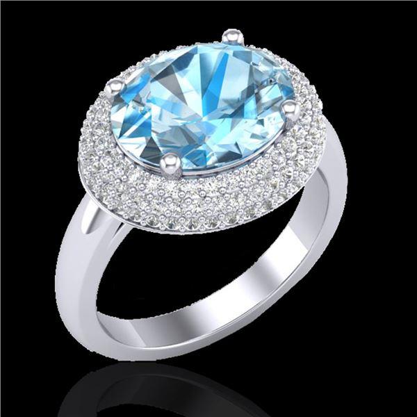 5 ctw Sky Blue Topaz & Micro Pave VS/SI Diamond Ring 18k White Gold - REF-98R8K