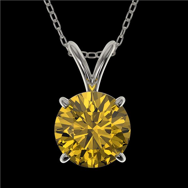 1.21 ctw Certified Intense Yellow Diamond Necklace 10k White Gold - REF-196A4N