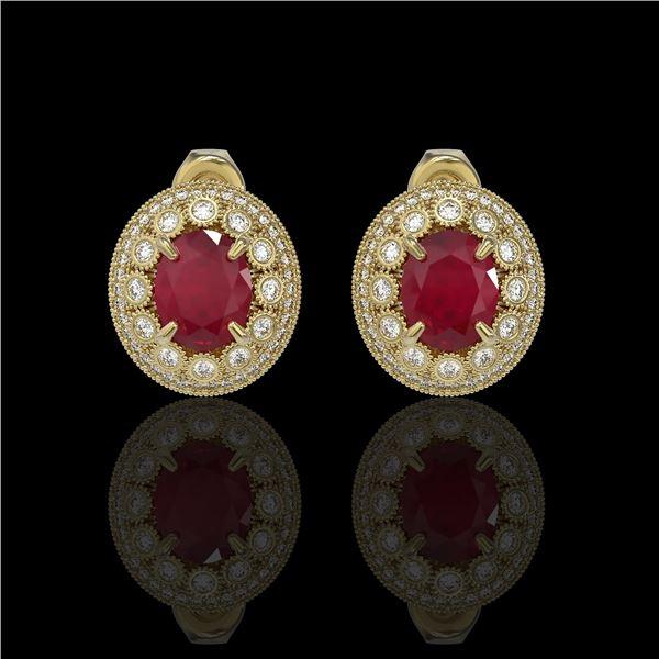 8.84 ctw Certified Ruby & Diamond Victorian Earrings 14K Yellow Gold - REF-220R8K