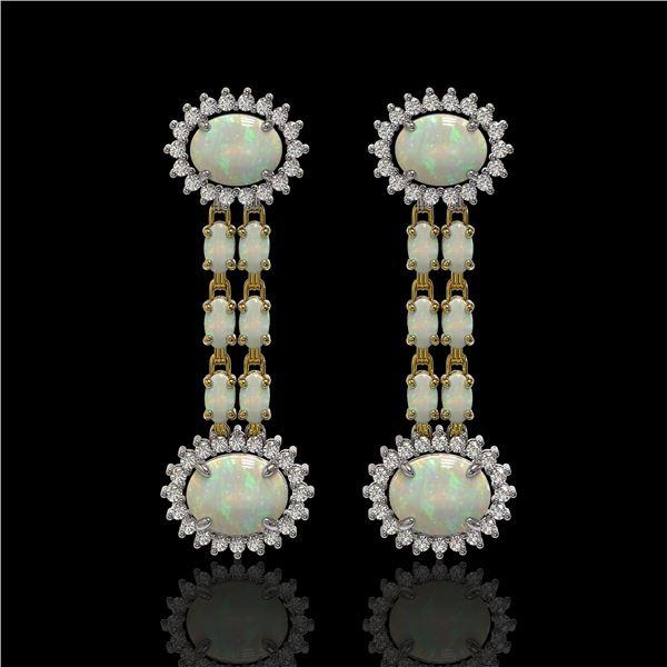 6.73 ctw Opal & Diamond Earrings 14K Yellow Gold - REF-227W3H