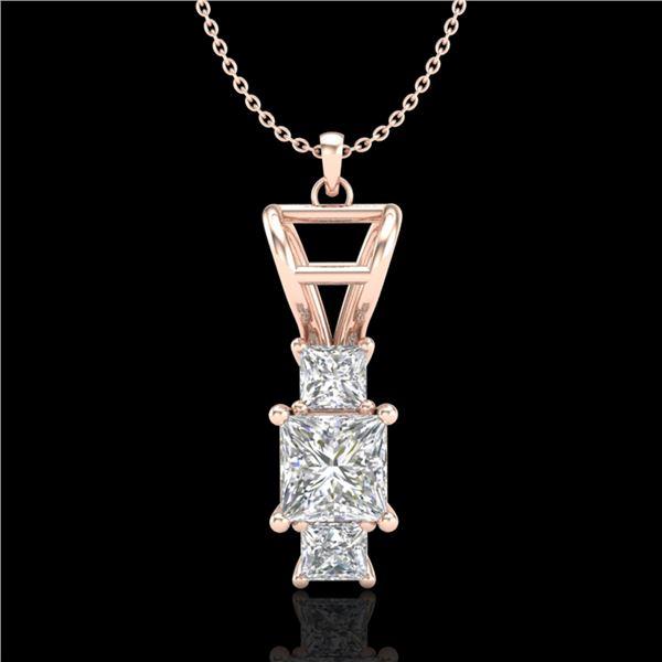 1.54 ctw Princess VS/SI Diamond Art Deco Necklace 18k Rose Gold - REF-418F2M