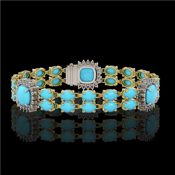 15.27 ctw Turquoise & Diamond Bracelet 14K Yellow Gold - REF-263F6M