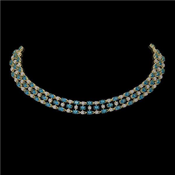 61.73 ctw London Topaz & Diamond Necklace 10K Yellow Gold - REF-527G3W