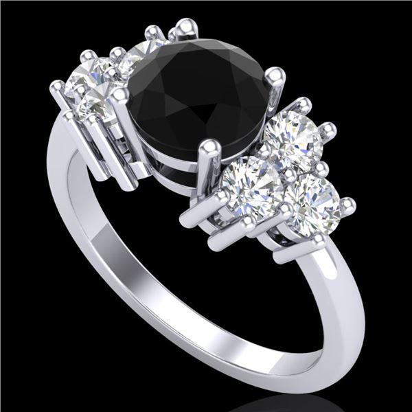 1.51 ctw Fancy Black Diamond Engagment Art Deco Ring 18k White Gold - REF-127R3K