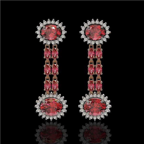 8.69 ctw Tourmaline & Diamond Earrings 14K Rose Gold - REF-227H3R