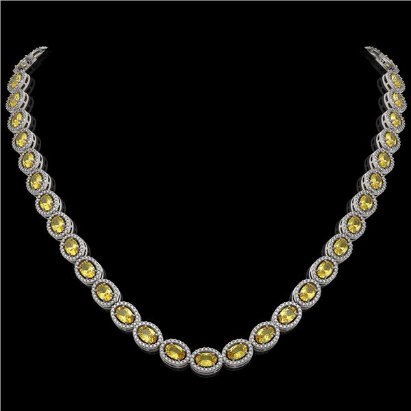 28.52 ctw Fancy Citrine & Diamond Micro Pave Halo Necklace 10k White Gold - REF-600Y2X