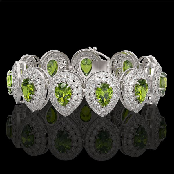57.24 ctw Tourmaline & Diamond Victorian Bracelet 14K White Gold - REF-1769M5G