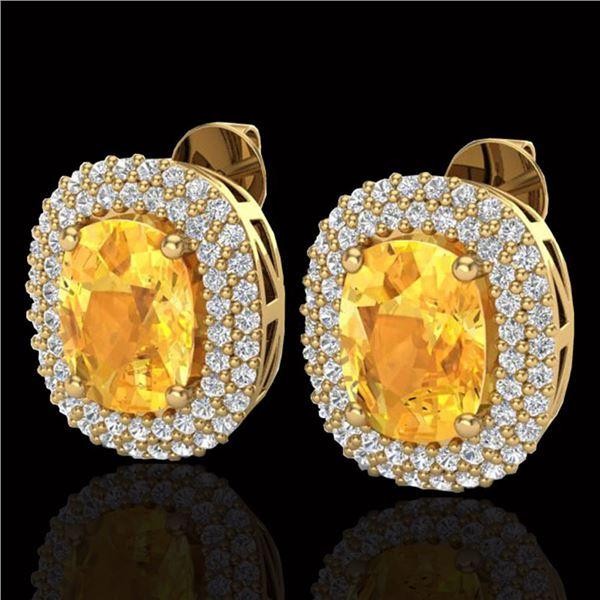 6 ctw Citrine & Micro Pave VS/SI Diamond Earrings 14k Yellow Gold - REF-118N2F