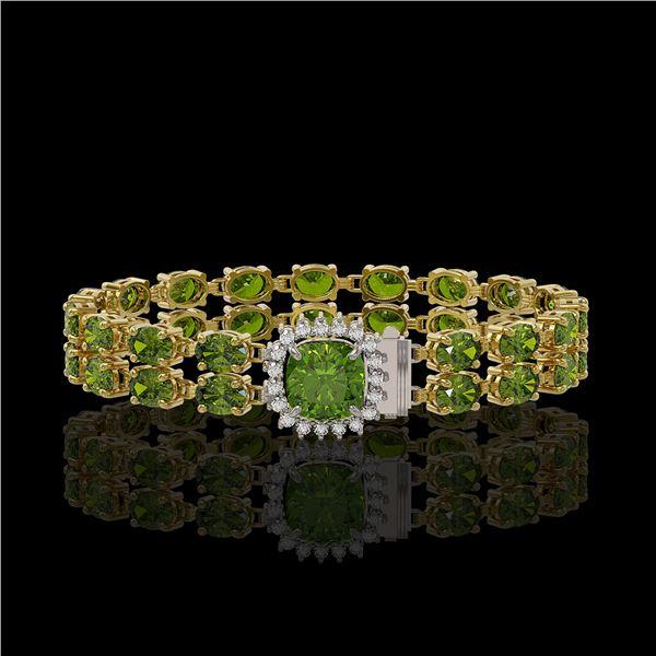 17.35 ctw Tourmaline & Diamond Bracelet 14K Yellow Gold - REF-245X5A