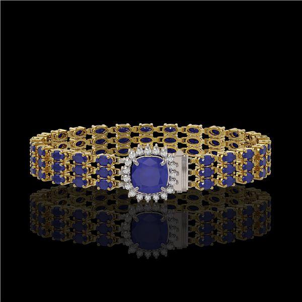 31.91 ctw Sapphire & Diamond Bracelet 14K Yellow Gold - REF-289K3Y