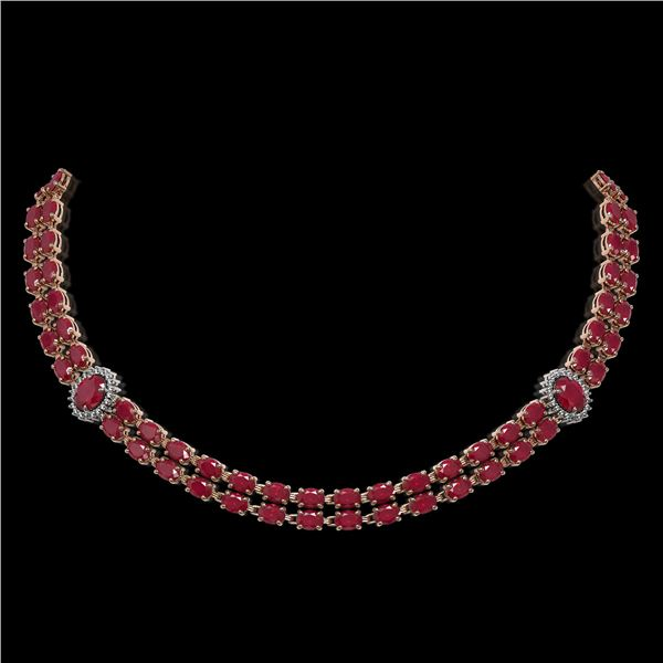 43.13 ctw Ruby & Diamond Necklace 14K Rose Gold - REF-527K3Y