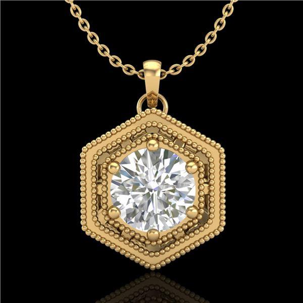0.76 ctw VS/SI Diamond Solitaire Art Deco Necklace 18k Yellow Gold - REF-178G2W