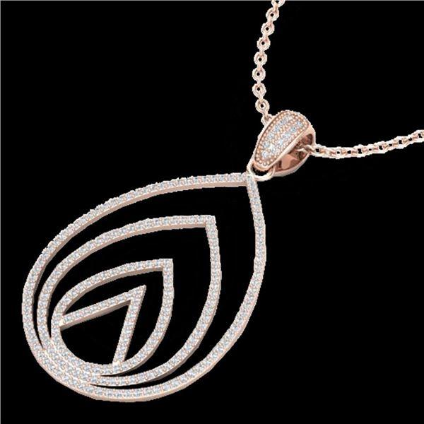 1.25 ctw Micro Pave VS/SI Diamond Designer Necklace 14k Rose Gold - REF-109Y3X