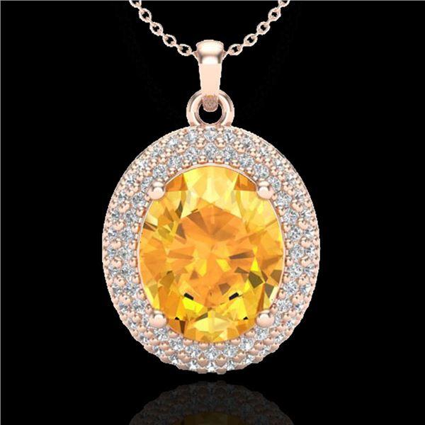4 ctw Citrine & Micro Pave VS/SI Diamond Necklace 14k Rose Gold - REF-84M9G