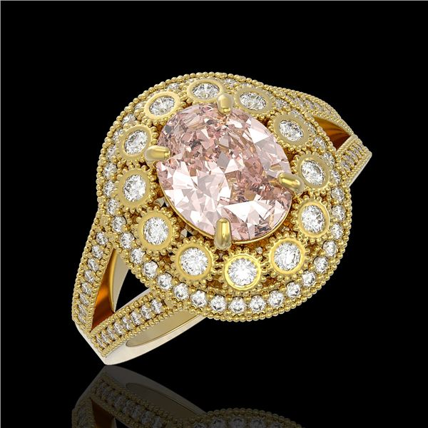3.95 ctw Certified Morganite & Diamond Victorian Ring 14K Yellow Gold - REF-176A8N
