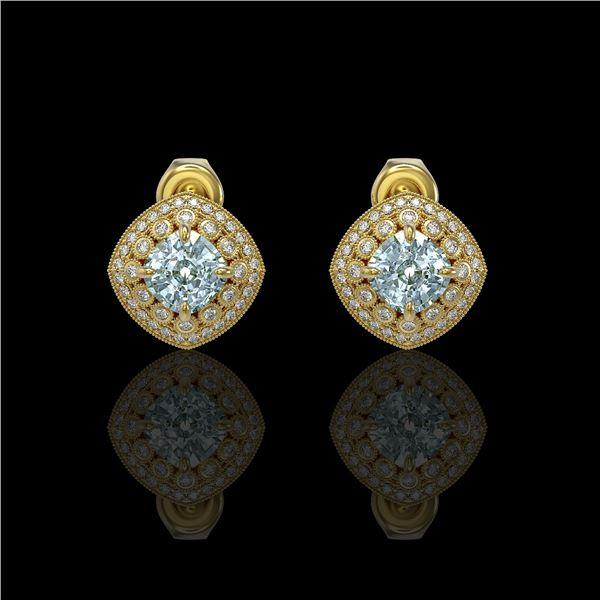 4.39 ctw Aquamarine & Diamond Victorian Earrings 14K Yellow Gold - REF-131F8M