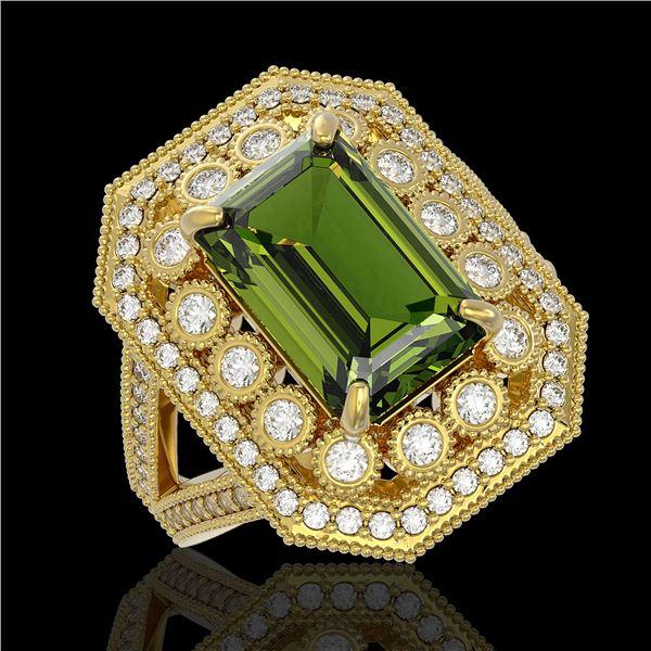 6.08 ctw Certified Tourmaline & Diamond Victorian Ring 14K Yellow Gold - REF-208W8H