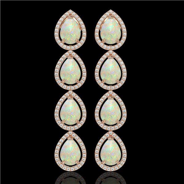 9.12 ctw Opal & Diamond Micro Pave Halo Earrings 10k Rose Gold - REF-174H5R