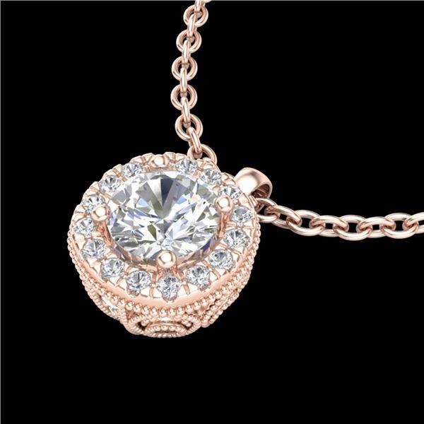 1.1 ctw VS/SI Diamond Solitaire Art Deco Stud Necklace 18k Rose Gold - REF-218M2G