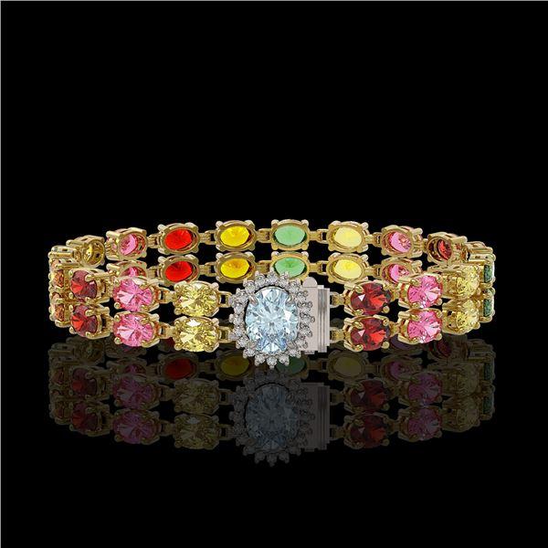 19.88 ctw Sapphire & Diamond Bracelet 14K Yellow Gold - REF-236Y4X