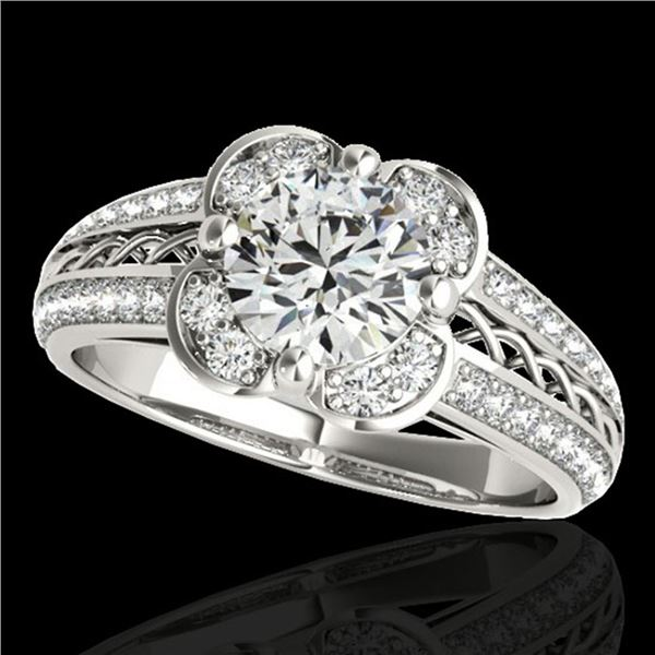 1.5 ctw Certified Diamond Solitaire Halo Ring 10k White Gold - REF-190X9A