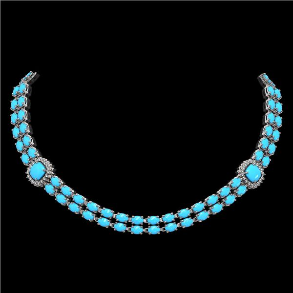 29.85 ctw Turquoise & Diamond Necklace 14K White Gold - REF-527Y3X