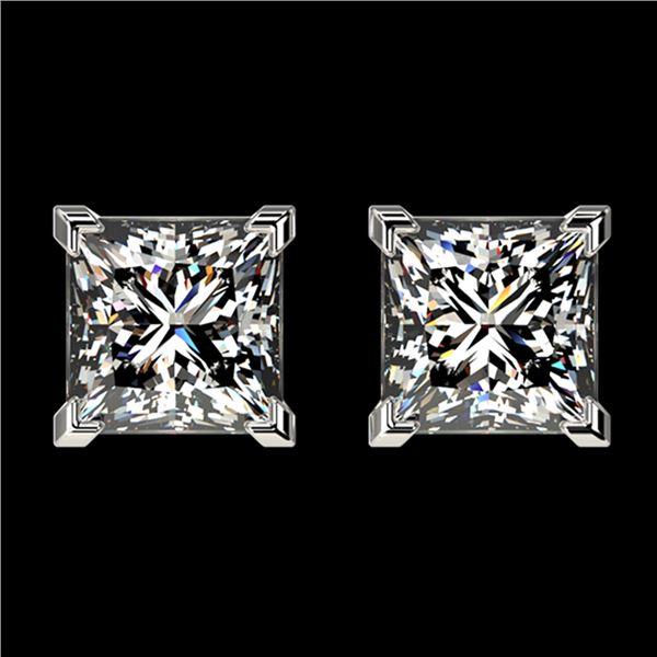 2 ctw Certified VS/SI Quality Princess Diamond Stud Earrings 10k White Gold - REF-478N6F