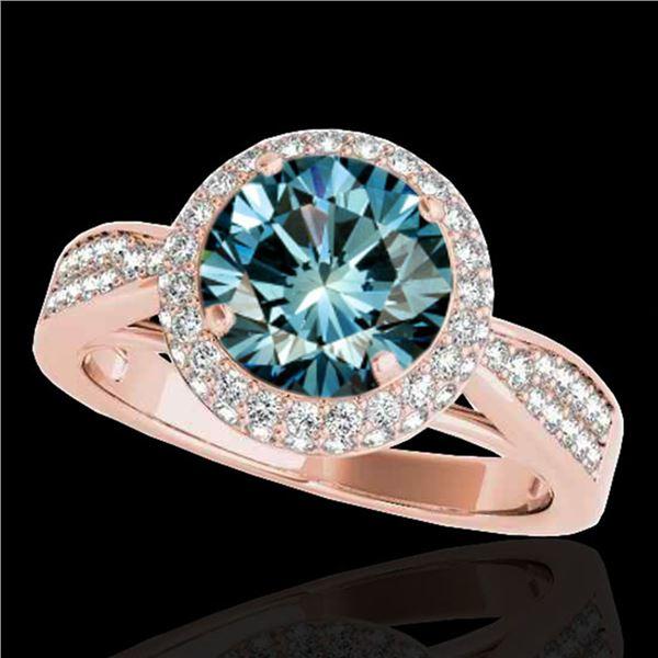 1.65 ctw SI Certified Fancy Blue Diamond Halo Ring 10k Rose Gold - REF-163Y6X