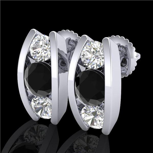 2.18 ctw Fancy Black Diamond Art Deco Stud Earrings 18k White Gold - REF-170W9H