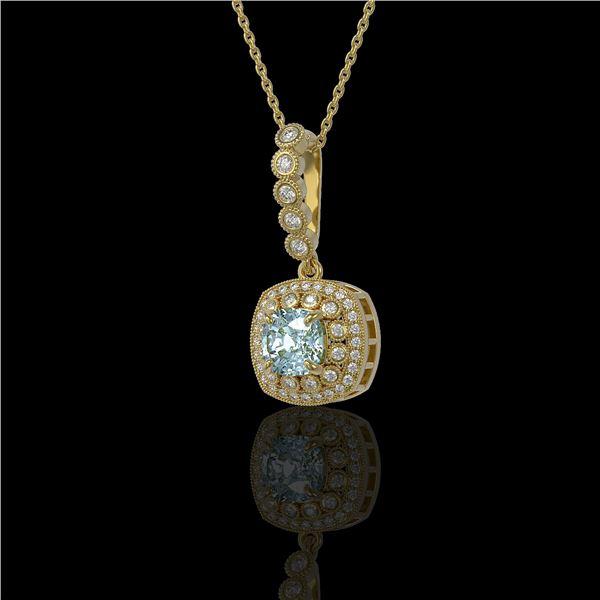 2.25 ctw Aquamarine & Diamond Victorian Necklace 14K Yellow Gold - REF-81R3K