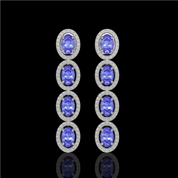 6.09 ctw Tanzanite & Diamond Micro Pave Halo Earrings 10k White Gold - REF-143W6H