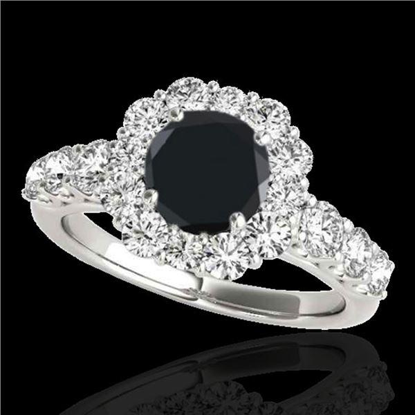 2.9 ctw Certified VS Black Diamond Solitaire Halo Ring 10k White Gold - REF-91K9Y
