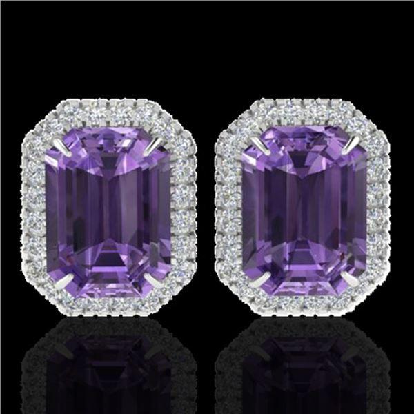 9.40 ctw Amethyst & Micro Pave VS/SI Diamond Earrings 18k White Gold - REF-77X8A