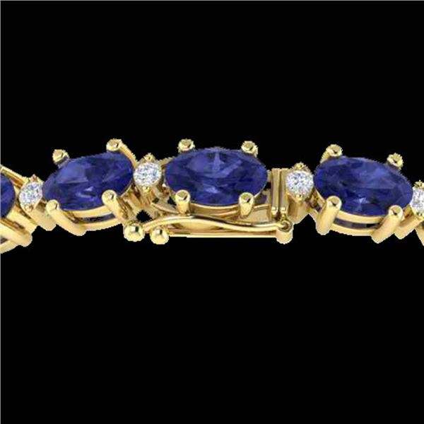 15 ctw Tanzanite & VS/SI Diamond Eternity Bracelet 10k Yellow Gold - REF-143K6Y