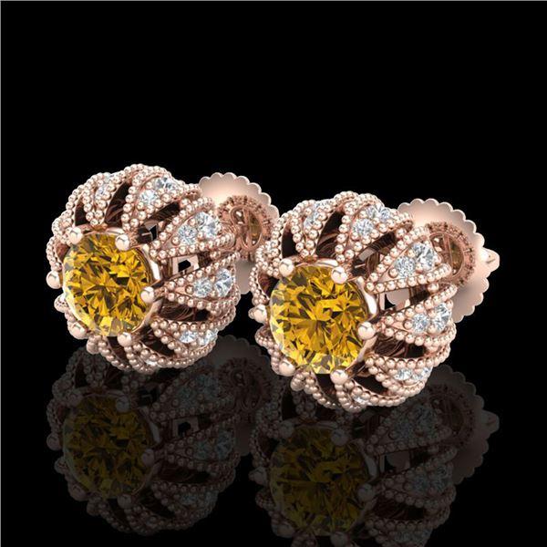 2.01 ctw Intense Fancy Yellow Diamond Art Deco Earrings 18k Rose Gold - REF-210N9F