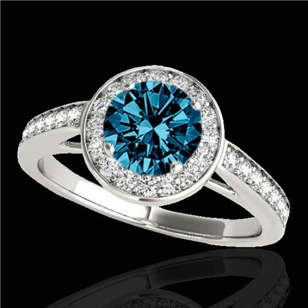 1.45 ctw SI Certified Fancy Blue Diamond Halo Ring 10k White Gold - REF-132A3N