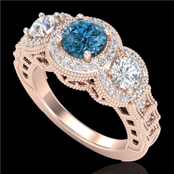2.16 ctw Intense Blue Diamond Art Deco 3 Stone Ring 18k Rose Gold - REF-270X9A