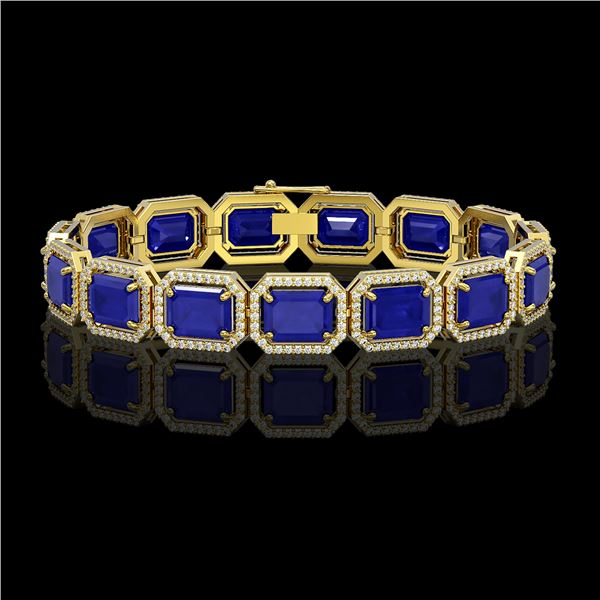 38.61 ctw Sapphire & Diamond Micro Pave Halo Bracelet 10k Yellow Gold - REF-392N4F