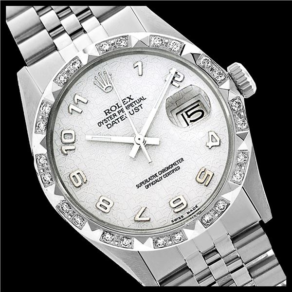 Rolex Ladies Stainless Steel, Arabic Dial with Pyrimid Diam Bezel, Sapphire Crystal