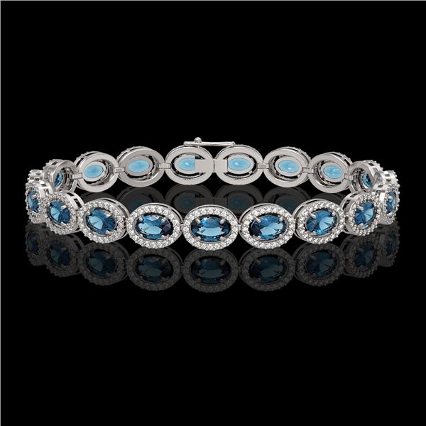 14.82 ctw London Topaz & Diamond Micro Pave Halo Bracelet 10k White Gold - REF-263H6R