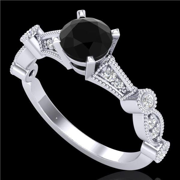 1.03 ctw Fancy Black Diamond Engagment Art Deco Ring 18k White Gold - REF-80A2N