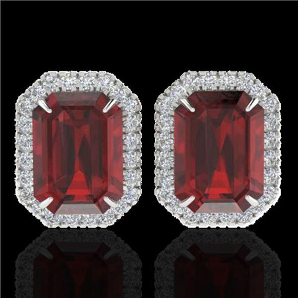 12 ctw Garnet & Micro Pave VS/SI Diamond Earrings 18k White Gold - REF-83A6N