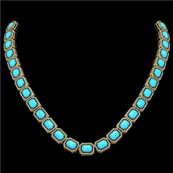 52.89 ctw Turquoise & Diamond Micro Pave Halo Necklace 10k Yellow Gold - REF-670M9G