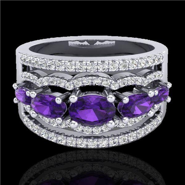 2.25 ctw Amethyst & Micro Pave VS/SI Diamond Designer Ring 10k White Gold - REF-81Y8X