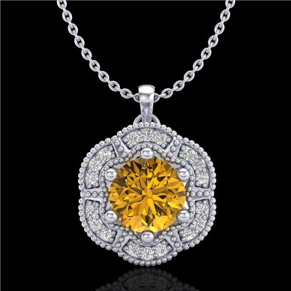 1.01 ctw Intense Fancy Yellow Diamond Art Deco Necklace 18k White Gold - REF-232F8M